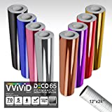 VViViD DECO65 Chrome Multi-Color Gloss Permanent Adhesive Craft Vinyl 1ft x 5ft Roll Bundle for Cricut, Silhouette & Cameo Including 12'' x 24'' Roll of Transfer Paper (8 Color Bundle)