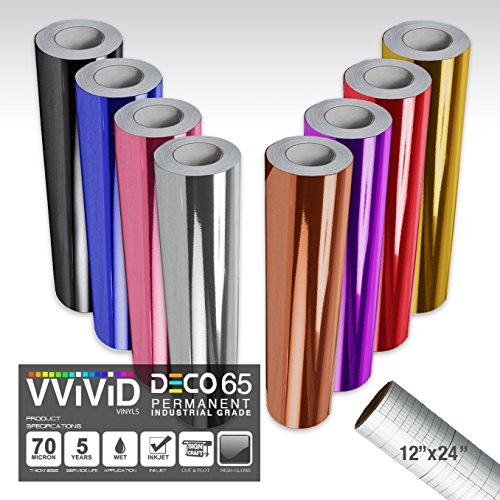 VViViD DECO65 Chrome Multi-Color Gloss Permanent Adhesive Craft Vinyl 1ft x 5ft Roll Bundle for Cricut, Silhouette & Cameo Including 12'' x 24'' Roll of Transfer Paper (8 Color Bundle) by VViViD