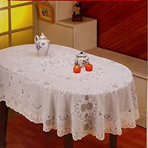 Amazon Com Crochet Vinyl Tablecloth 60 Quot X 90 Quot Oval