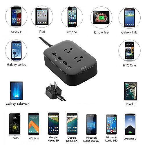 JOTO 2 Outlet Surge Protector Power Strip with USB Smart Charger (4 Port,5V 7.4A),with Type C Charging Port, 6.6ft Long Cord Extension, Home Office Desk Nightstand Travel Charger Station -Black by JOTO (Image #4)