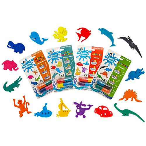 Bath Beans - Sea Creature, Dinosaurs, A. Animals & Journey- BOYS BEST CHOICE BUNDLE that Girls love too. For 3+ yrs. Giant magic capsules unfold into sponge toy characters when dropped into warm water
