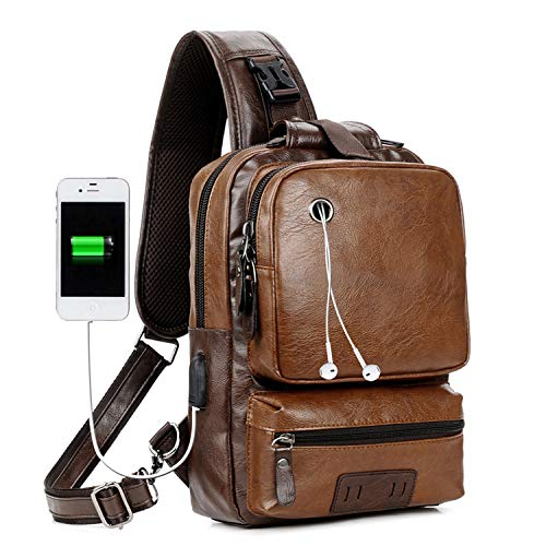 Men Vintage PU Leather CrossBody Sling Bag Large Capacity Casual Backpack USB Charge (Largebrown)