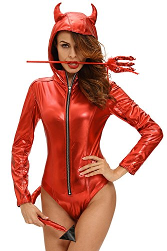 Devil Sexy Costumes Adult Jumpsuit (Women Adult Sexy Bodysuit Costumes Metallic Devilish Hottie Long Tail Playsuit Hooded Halloween Costume Catsuit)