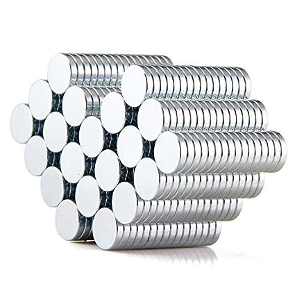Sunkee 100pcs Pequeño y redondo imanes de disco 10 mm x 2 mm de diámetro de