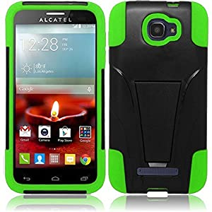 LF 4 in 1 Bundle - Hard Case Cover, Lf Stylus Pen, Screen Protector & Droid Wiper Accessory for Alcatel One Touch Fierce 2 7040T, (Tracfone / Net10) Pop Icon A564C (Hard Green)