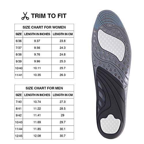 Massaging Gel Insoles, All-Day Shock Absorpting and Ventilated Shoe Inserts for Sports Walking Running, Comfortable Cushioning for Men and Women, Grey, L