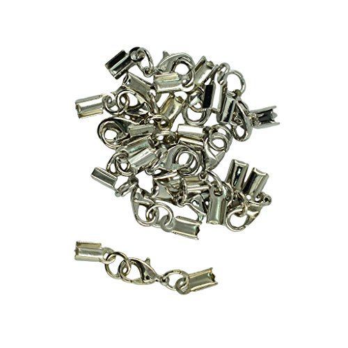 MonkeyJack 12 Set Wholesale 12mm Lobster Claw Clasp Leather Fold Over Crimp Clip Ends for DIY Findings Jewelry - Silver -