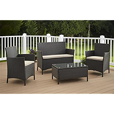 Cosco Products 4 Piece Jamaica Resin Wicker Conversation Set - Dark Brown with Tan Cushions