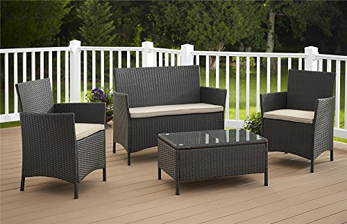 Cosco Products 4 Piece Jamaica Resin Wicker Conversation ...