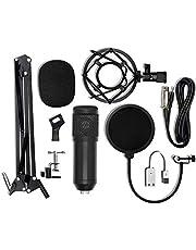 Festnight BM-800 Condenser Microphone USB Sound Card Mount Stand Set for Radio Braodcasting Singing Recording (Black)