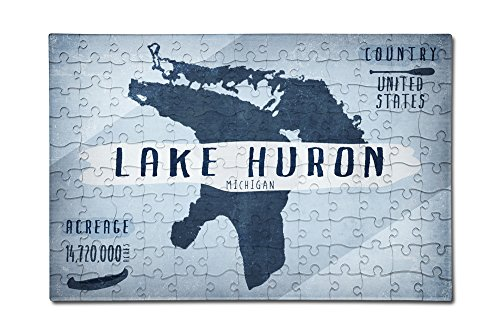 Lake Huron  Michigan   Lake Essentials   Shape  Acreage And County  12X18 Premium Acrylic Puzzle  130 Pieces