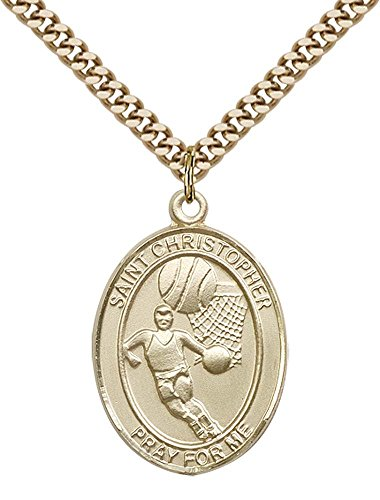 - 14kt Gold Filled St. Christopher/Basketball Pendant with 24