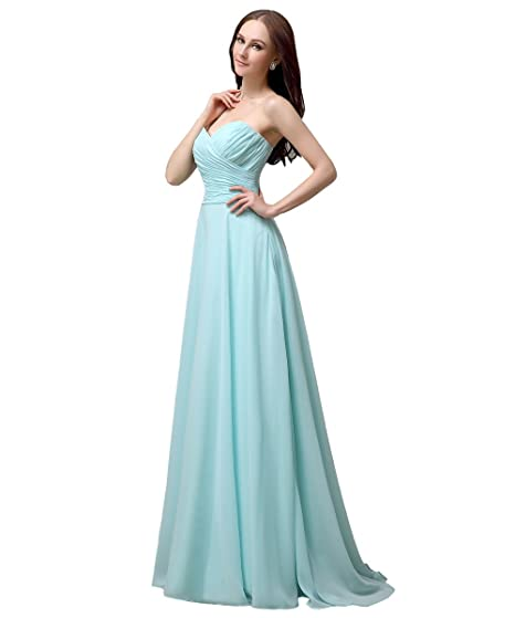 YesDress Juniors Formal Simple Spring Most Popular Sweet Heart Chiffon Lace Up Back Long Tiffany Blue