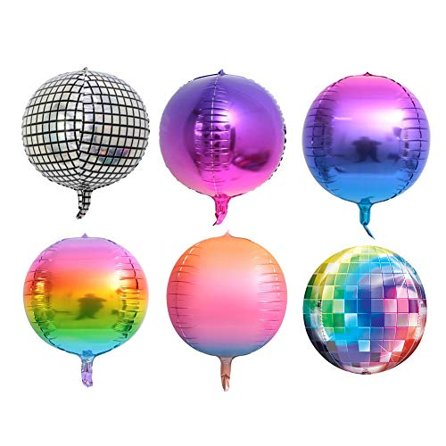Ladovin 6Pcs 22inch 4D Disco Balloons Gradient Color Aluminum Foil Balloons for Birthday Party Wedding Baby Shower Marriage Party Decor -