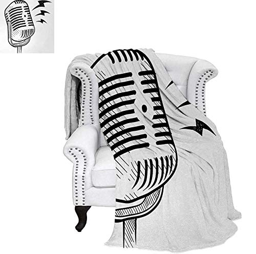 """Super Soft Lightweight Blanket Retro Microphone Communication and Media Concept Radio Show Speech Talk Podcast Oversized Travel Throw Cover Blanket 90""""x70"""" Black White"""