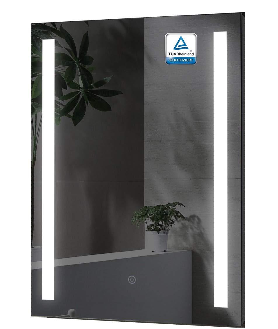 ALLDREI Badspiegel mit Beleuchtung AD38 Badezimmerspiegel mit LED licht, Touch Schalter – Senkrecht Montage 60 x 80 cm, Wasserdicth IP44, Weiß Lichtfarbe, Farbtemperatur 6500K, Energieklasse A++