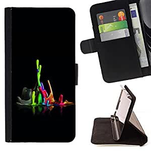 DEVIL CASE - FOR Sony Xperia M2 - Color Combo - Style PU Leather Case Wallet Flip Stand Flap Closure Cover