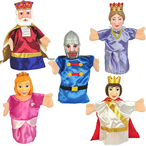 "Set of 5 Royal Family & Knight Hand Puppets 10"" VINYL HEADS"
