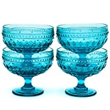 Euro Ceramica Fez Glassware Collection Footed Compote/Dessert Bowl Glasses, 13oz, Set of 4, Turquoise