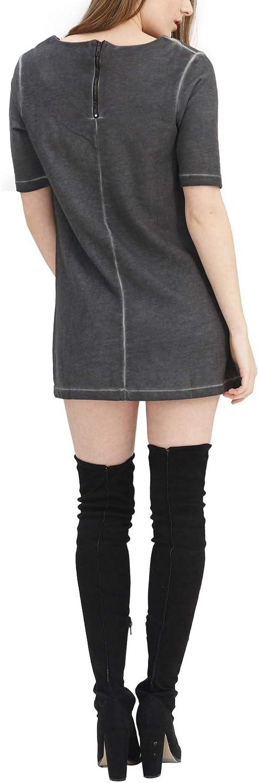 trueprodigy Casual Damen Marken Sweatshirt lang einfarbig Basic Oberteil Cool Stylisch Rundhals Halbarm Slim Fit Sweatkleid für Frauen Anthrazite