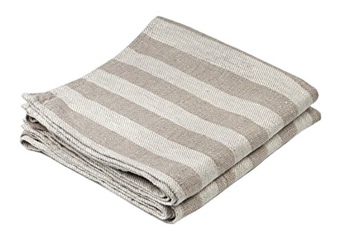 BLESS LINEN Jacquard Striped Pure Linen Hand Kitchen Towel, 16 x 30 Inches, Set of 2, Grey/White by BLESS LINEN