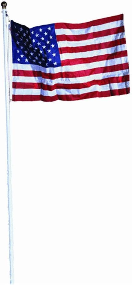 20/' super THICK US steel AMERICAN FLAG POLE KIT WHITE /& USA 3/'X5/' FLAG POLYESTER
