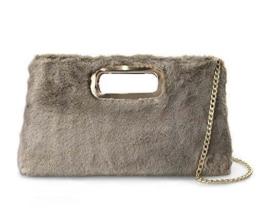 eacfeb723001 Fur Clutch Handbags Cut It Out Metal Handle Evening Bag (Khaki)