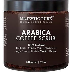Majestic Pure Arabica Coffee Scrub, 12 Oz - Natural Body Scrub for Skin Care, Stretch Marks, Acne & Anti Cellulite Treatment, Helps Reduce Spider Veins, Eczema, Age Spots & Varicose Veins
