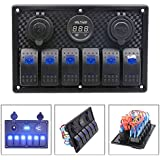 10Gang Dual Waterproof Car to Boat Marine LED AC//DC Rocker Switch Panel Nm