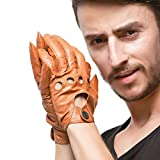 Nappaglo Men's Driving Leather Gloves Classic Lambskin Full-Finger Open Back Unlined Gloves for Riding Cycling Motorcycle (S (Palm Girth:up to 8''), Tan (Non-Touchscreen))