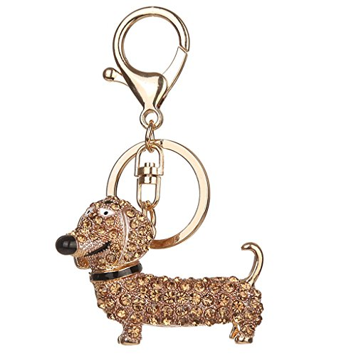 Doober Bling Dog Dachshund Keychain Handbag Purse Pendant Car Holder Key Ring Jewelry - Bucket Ring