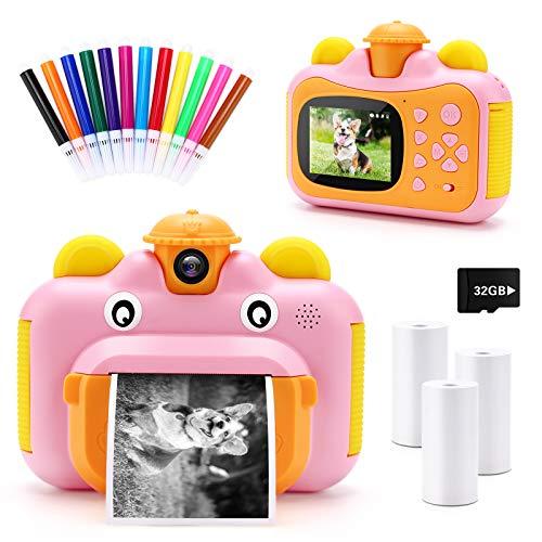 32GB Instant Print Cameras for Kids, Zero Ink 1080p Video Kids Digital 12MP Selfie Camera for Girls,INKPOT Birthday Gift…