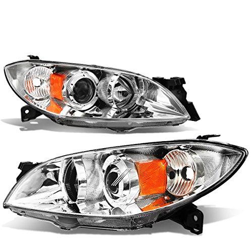 For Mazda 3 4-Door Sedan Pair of Chrome Housing Amber Corner Projector Headlightslights -