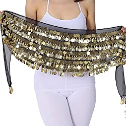 ZLTdream Belly Dance Hip Scarf With Film Gong & Coins Chiffon Black