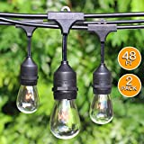 SHINE HAI 48Ft 24 Hanging Sockets Outdoor String lights with 11S14 Edison Vintage Bulbs-Commercial Grade Strand, Weatherproof, Perfect for Market Cafe Bistro Patio Garden Porch Backyard Party Deck-Blk