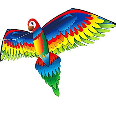 Eve.Ruan 3D Parrot Kites with Tail for Kids and Adults, Lightweight & Portable and Easy to Fly, Single Line Kite with Flying Tools, Family Outdoor Funny Flying Activity Games: Sports & Outdoors