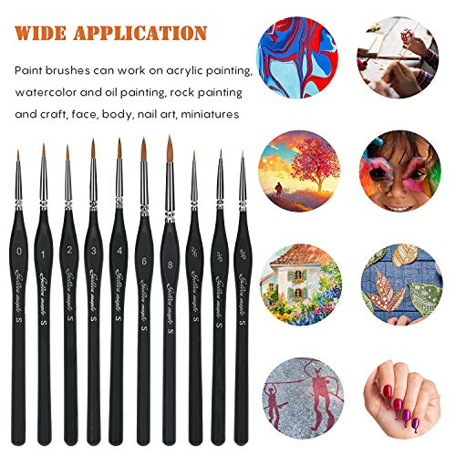 Paint by Numbers Miniature Fine Detail Art Paint Brush Set for warhammer 40k modeling and games workshop Painting Watercolor Line Drawing Nail Acrylic Face Oil Scale Model Painting 10pcs