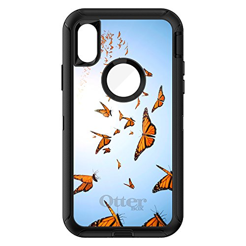 CUSTOM Black OtterBox Defender Series Case for Apple iPhone X 10 - Flying Monarch Butterflies
