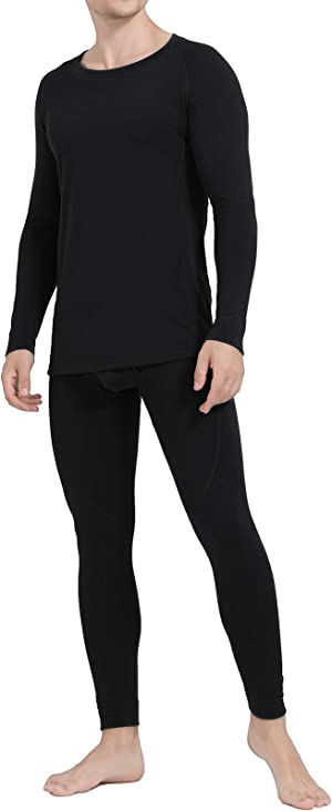 Ginasy Thermal Underwear for Men Long Johns Set Winter Warm Base Layer Top & Bottom with Fleece Lined