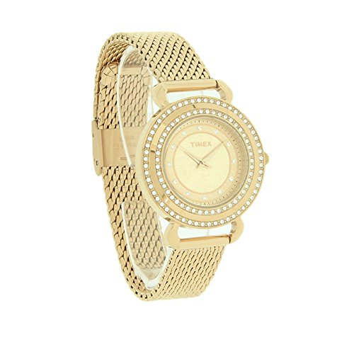 Timex Watch, Women's Premium Originals Crystals Gold Tone Stainless Steel Mesh Bracelet 33mm T2P232AB