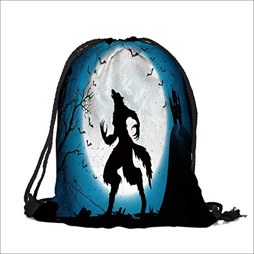 (Drawstring Cotton Linen Cloth Dark Halloween with Moon on blue sky castle and werewolf spiders and flying bats  Craft Gift Storage Pocket Bag  14
