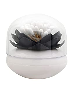 ESTD 1Pc Lotus Toothpick Cotton Bud Swab Holder Storage Box Home Decor (Black)