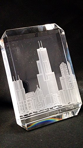 Engraved personalized Crystal paperweight with Chicago Skyline