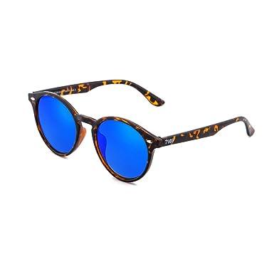 Sonnenbrille TWIG Pollock Herren/Damen Rund Verspiegelt Jahrgang Retro (Schildkröte/Blau) wO4wQ2Tt4u