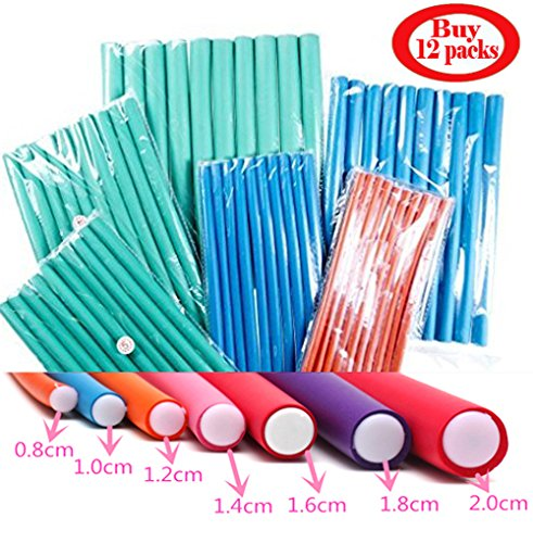 12 Pack Deal Spiral Hair Foam Curler Roller Set, 10 Rods per Pack Twist Curls Flex Rods, Length 9''