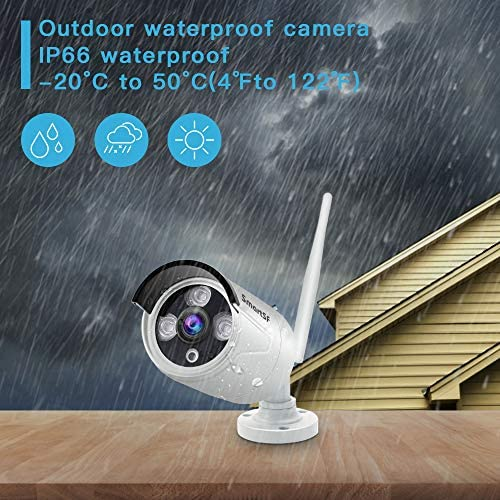 SmartSF 720P 8CH HD Wireless Security Camera System WiFi NVR Kit CCTV Surveillance Systems, 4 1.0MP Outdoor Indoor Weatherproof Bullet IP Cameras,65ft Night Vision, P2P,Motion Detection,NO HDD
