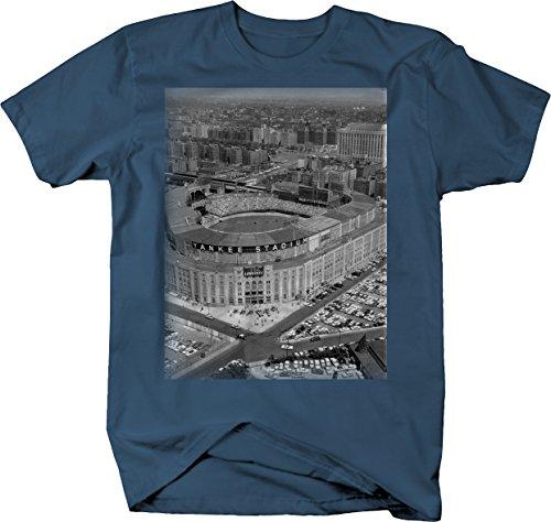 Baseball - Yankee Stadium Vintage Original Retro New York Tshirt - Large Denim Blue (Subway To Yankee Stadium From Grand Central)
