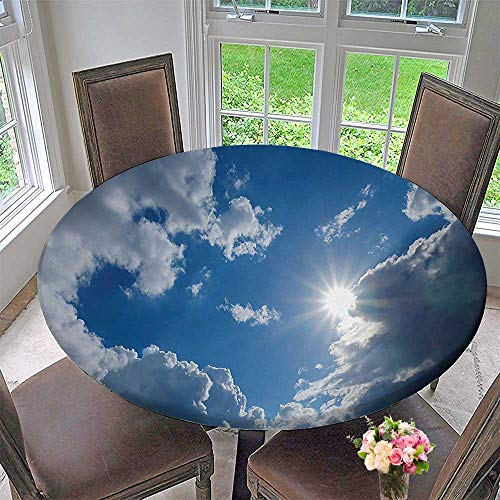 Mikihome Simple Modern Round Table Cloth Clear Weather Sky Sun On Sky with Clouds Solar of Clean Energy Power Gray Blue for Daily use, Wedding, Restaurant 35.5''-40'' Round (Elastic Edge) by Mikihome