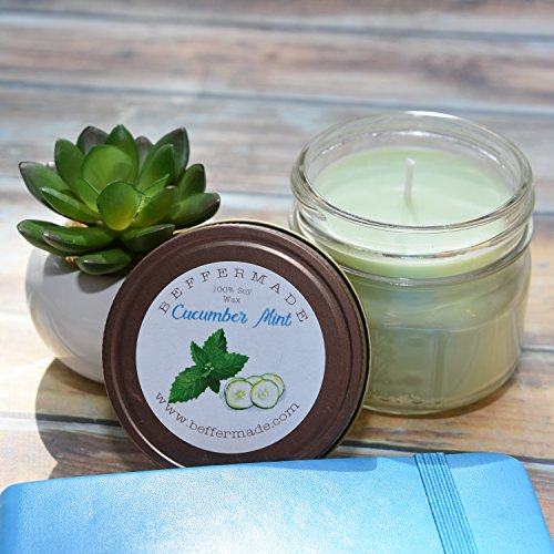 Cucumber Mint Candle Scent - Cucumber Mint Scented Soy Mason Jar Candle, 4 oz