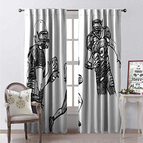(Hengshu Boys Room Thermal Insulating Blackout Curtain Sketch of American Football Players Running Competition Activity Championship Blackout Draperies for Bedroom W72 x L108 Dark Green)